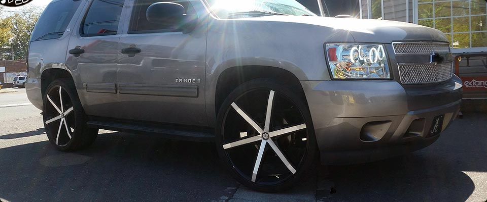 "Chevrolet Tahoe with 26"" Wheels and Halo Headlights"